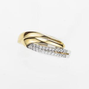 Huismerk ring bicolor 18kt